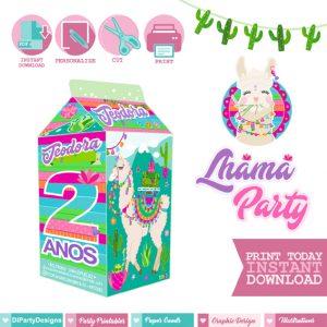 Lhama Party milk box